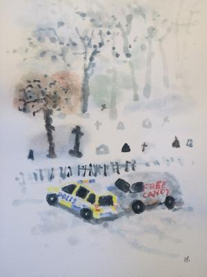 Håkan Wennströms målning Haffad är gjord efter han kom hem från sjukhuset med kyrkogården som bakgrund till ett bil han sett på stan.