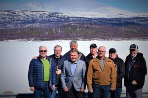 Odd Fellows på resa till Bodö i Nordnorge. Från vänster : Urban Järnö, Anders Johanhage, Håkan Gunnarsson, Anders Gustafsson, Ronny Sjögren, Rolf Jonsson, Leif Gilliusson, Tor-Björn Waldemark.