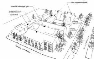 Här är skissen som presenterats för Borlänge kommun. Radhus, äldreboende och trygghetsboende i kvarteret Lärarinnan vid Siljansvägen.