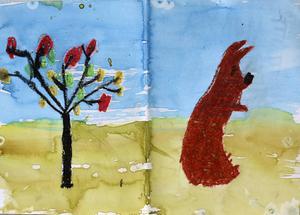"""Trea i åldersklassen 7-10 år: Engla Backman, 7 år, Nälden         JURYNS MOTIVERING: """"I Englas bild känner vi farten i vinden, påskträdet vajar och haren står lite ostadigt. En bild som är uttrycksfull och spontan. Fin stämning!"""""""