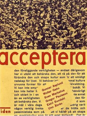 """""""acceptera"""" – debattbok utgiven av Tidens förlag 1931."""