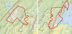 Ådala ligger mellan de blivande detaljplaneområdena Västra Landfjärden (den vänstra kartan) och Östra Landfjärden (kartan till höger). Karta: Nynäshamns kommun
