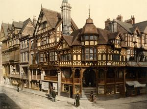 The Rows i engelska Chesire är ett av de första köpcentrumen i Europa och byggdes redan i mitten av 1200-talet. Bilden är tagen 1895 av okänd fotograf.