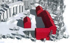 Så här ser en tidig skiss ut på hur de nya flerbostadshusen skulle kunna se ut: fem huskroppar om cirka fyra våningar som byggs ihop. I bakgrunden till vänster ses befintliga bostäder på Myntstigen. Utanför bildens nederkant går Tvetavägen, till vänster mot Mariekäll och till höger mot Hovsjö.Skiss: Telge bostäder