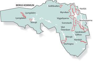 Här är de områden i Bergs kommun där IP Only planerar att dra fram fiber. Karta: Kjell Nilsson-Mäki