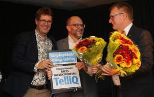 Årets tillväxtföretag blev TelliQ från Arboga. Här med Erik Ljung, Joachim Lindkvist och prisutdelaren Mikael Bohman.
