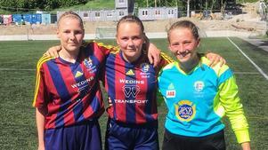 Tvåmålsskyttarna Alicia Holmberg och Tilda Wärulf samt målvakten Wilma Hultman Modin. Alla födda 2003.