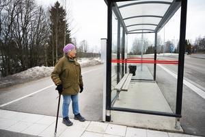 86-åriga Maja-Britta Lindstedt var nära att skadas allvarligt när en busskur vid Sidsjövägen blåste omkull på henne för en dryg vecka sedan.