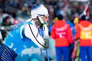 Calle Halfvarsson pustar ut efter sistasträckan. Han förde upp Sverige från sjätte till femte plats, men Blågult var ändå långt ifrån en pallplats. Bild: Carl Sandin/Bildbyrån.