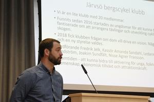 Fredrik Jelk berättade om sin vision: En cykelpark i Järvsö.