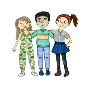Khalil med sina kompisar Lovisa och Agnes. Illustration av Hedvig Wallin.