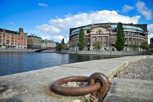 Riksdagshuset. Är den svenska demokrati hotad? Foto: Stina Stjernkvist / TT