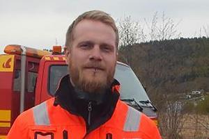 Mattias Karlsson, bärgare vid Sollefteå & Kramfors Bärgningstjänst AB.