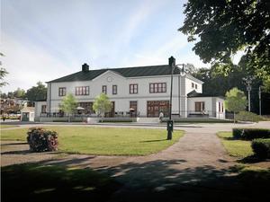 Idéskiss. Såhär kan det nya stationshuset i Lindesberg komma att se ut efter en ombyggnad under sommaren 2015.Skiss: LIBO:s