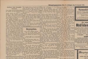 """Lördagen 24 januari 1903 fick Dan Andersson sitt första alster """"Brefkort från Grangärde finnmark"""" publicerat i Bergslagsposten."""