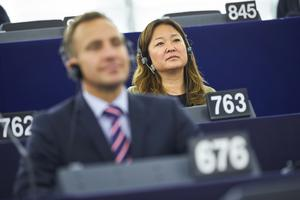 Moderaternas EU-parlamentariker Jessica Polfjärd skriver om EU:s arbetsmarknadspolitik. Foto: Fredrik Persson/TT.