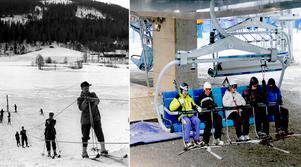Bilden till vänster visar den första liften i Kungsberget. Bilden till höger är den så kallade superliften som invigdes 2016. Bild K. Lundquist/Anders Eklind