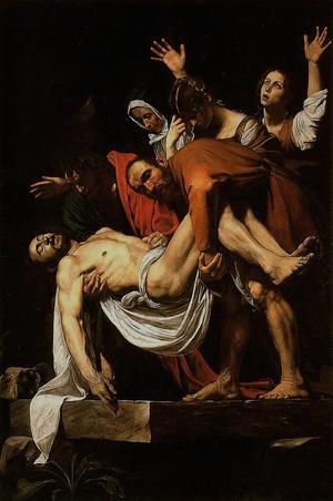 Påskfirandets ursprung: Jesus begravs. Här en målning av just detta signerad Caravaggio från 1603.