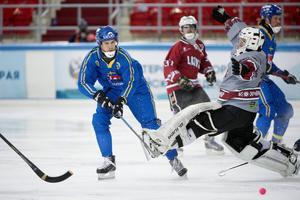 Jonas Nilsson gjorde två mål för Sverige i kvartsfinalen mot Lettland.