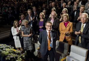 Göran Hägglund applåderades av sina partikamrater efter att han avgått som partiledare till förmån för Ebba Busch Thor som valdes till ny partiledare för Kristdemokraterna.