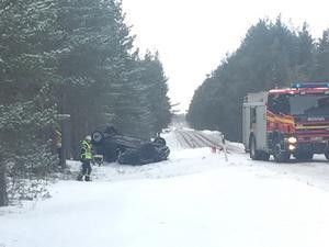 Olycksplatsen vid E45 utanför Sveg.