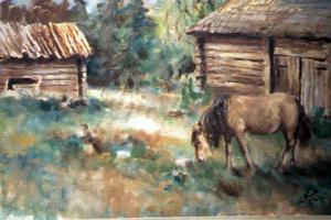 Sigfrid tyckte om djur. Detta ovanliga hästmotiv målade han 1952.
