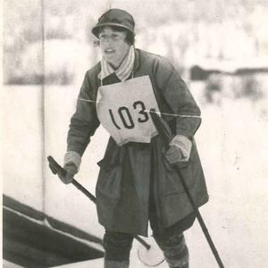 Margit Nordin från loppet 1923 då hon som första och sista kvinna på 58 år genomförde Vasaloppet.