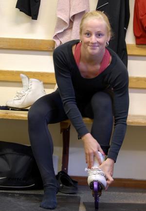 SM-medaljös. Malin Hållberg-Leuf har kommit från Ö-vik till Orsa för att träna för ryska Tanja Magnusson. Foto:Lynda Lundin