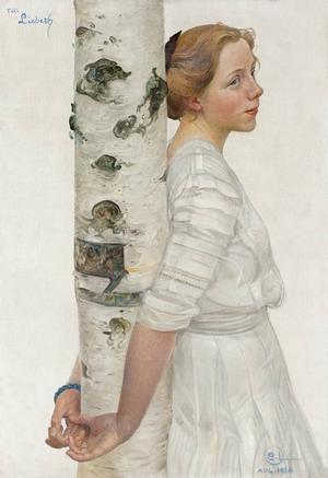Lisbeth vid björkstammen, 1910.