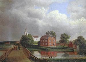 Hamrånge kyrka och prästgård. 1864.