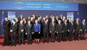 Många på möte. EU-ländernas stats- och regeringschefer blev snabbt klara, medan euroländernas ledare hade den svåra uppgiften att hantera Greklands utsatta läge.foto: scanpix