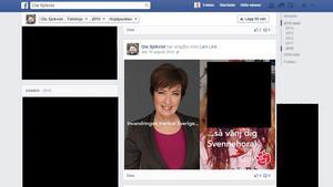 Skärmdump. 2010 lade Ola Sjökvist (SD) ut en bild på Mona Sahlin (S) och en misshandlad kvinna med texten