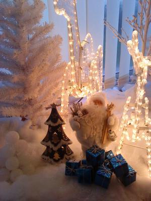 En del av jullandskapet på inglasade altanen