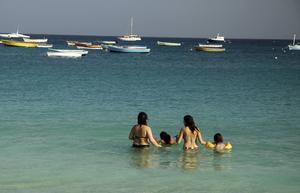 Stilla dopp i turkost, sommarvarmt hav även mitt i vintern.