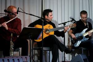 Uppskattad flamencogitarrist. Erik Steen gästade Gårdskär i måndags kväll och kompades av bland andraJohan Alenius på sax och flöjt och Bengan Jonasson på bas.FOTO: NILS-OLOF ENGBERG
