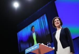 Moderaternas partiledare Anna Kinberg Batra höll tal på Moderaternas