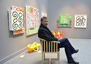 Peter Österlund, intendent vid Sundsvalls museum, ses här vid en del av utställningen.