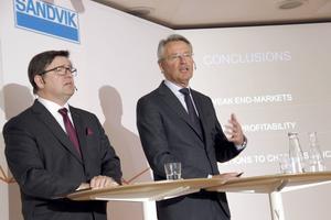 Sandviks vd Björn Rosengren och nye finanschefen Tomas Eliasson presenterar delårsrapporten.