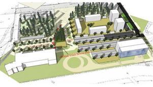 Ett förslag på hur bebyggelsen vid travbanan skulle kunna se ut.