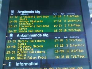 Lördag eftermiddag. Alla tåg försenade vid Örebro central.