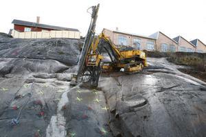 Sprängning ger plats för nya kulturhuset i Norrtälje stad.