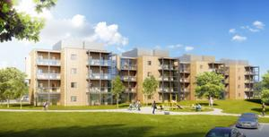 Nordporten på Nordanby Äng har 44 lägenheter, 2-3 rum och kök, på ytor från 50 till 75 kvadratmeter.
