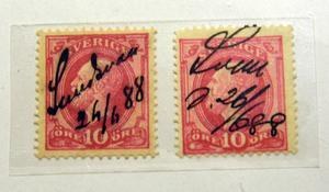 Dyrgripar för hembygdsintresserade: De två enda kända frimärkena från Sundsvall den 26 juni 1888 - dagen efter stadsbranden.
