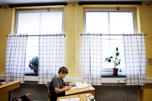 SLUTRÄKNAT. Inne i 2-3-4:ornas klassrum håller man på med läsårets – och skolans – sista mattetal. Fjärdeklassaren Jonas Norlin Boox räknar koncentrerat.