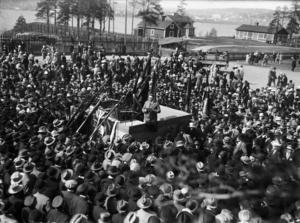 Några bilder finns inte från själva strejken. Den här togs i samband med 50-årsminnet 1929.