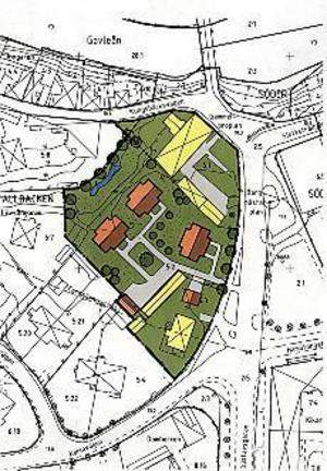 Illustration: Gävle kommun Tre parhus. Det nya detaljplaneförlaget visar att man kan bygga tre hus (orange på skissen) på Klintbergska gården. Förslaget omfattar också två grannfastigheter.