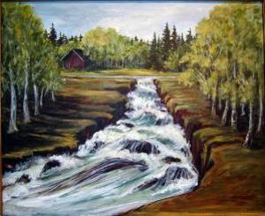 Kerstin Wikholm visar detta landskap på Folkets hus konsthylla