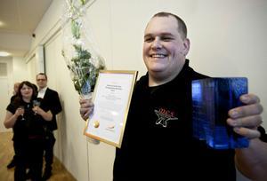 Markus Edlund från Myckelgensjö var strålande glad när det stod klart att han utsetts till Västernorrlands mest företagsamma mäniska 2012.
