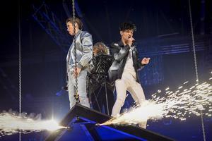 Felix, Oscar & Omar / FO&O med Gotta Thing About You under fredagens generalrepetition inför Melodifestivalens tredje deltävling.