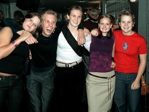 År 2000. Anna Öberg, Fredrik Olsson, Janina Gårdensjö, Jennie Åström och Katarina Nordin på Extremes (nuvarande Folkets).